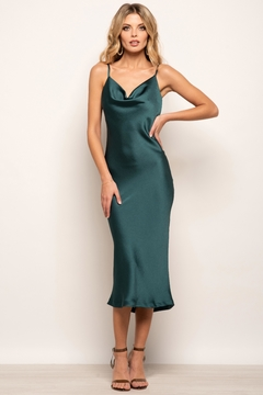 Urban Touch Cowl Neck Satin Slip Cami Midi Dress In Emerald - Product List Image
