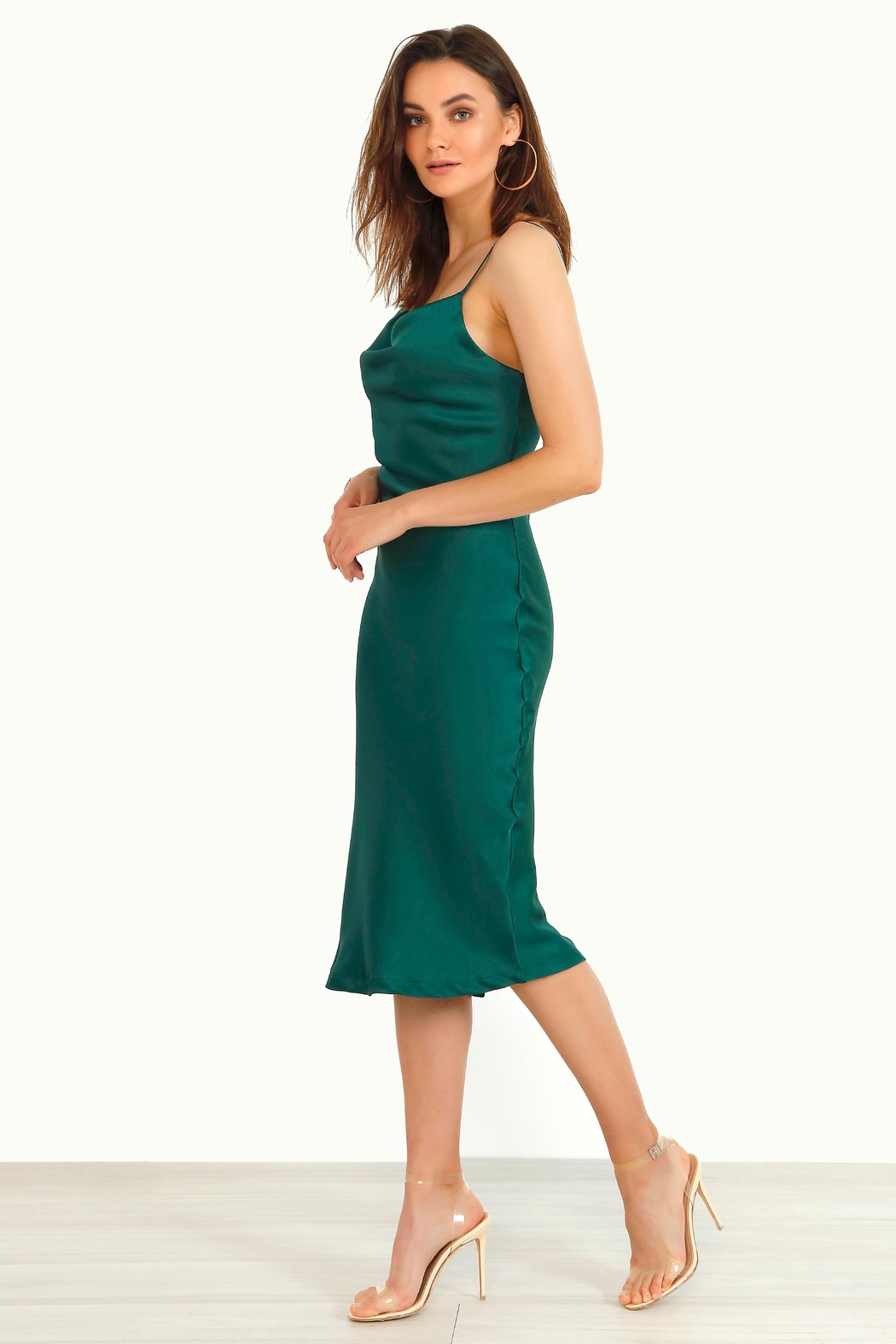 Urban Touch Cowl Neck Satin Slip Cami Midi Dress In Emerald - Front Full Image