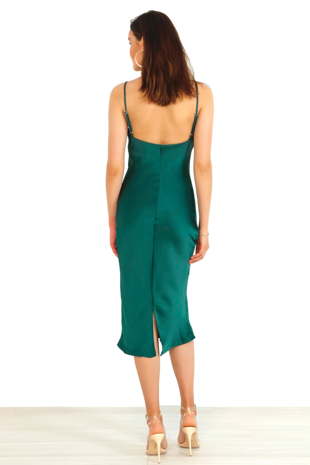 Urban Touch Cowl Neck Satin Slip Cami Midi Dress In Emerald - Side Cropped Image