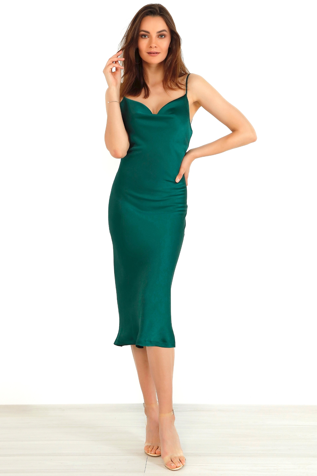 Urban Touch Cowl Neck Satin Slip Cami Midi Dress In Emerald - Main Image