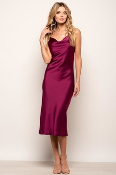 Urban Touch Cowl Neck Satin Slip Cami Midi Dress In Magenta - Product List Image
