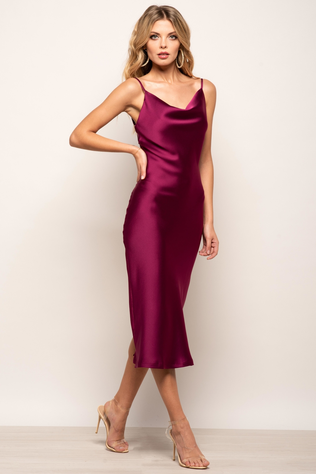 Urban Touch Cowl Neck Satin Slip Cami Midi Dress In Magenta - Front Cropped Image