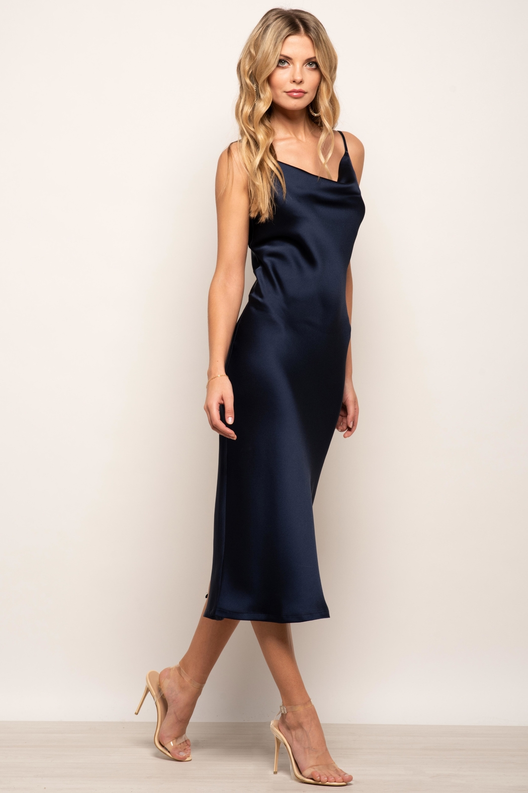 Urban Touch Cowl Neck Satin Slip Cami Midi Dress In Navy - Side Cropped Image