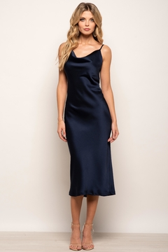 Urban Touch Cowl Neck Satin Slip Cami Midi Dress In Navy - Product List Image