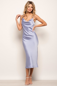 Urban Touch Cowl Neck Satin Slip Cami Midi Dress In Blue - Product List Image