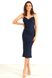 Urban Touch Cowl Neck Satin Slip Cami Midi Dress In Navy - Product Mini Image