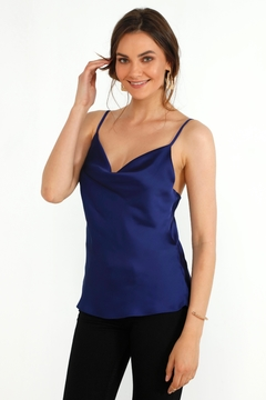 Urban Touch Cowl Neck Satin Slip Top -Sax Blue - Product List Image