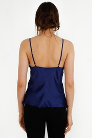 Urban Touch Cowl Neck Satin Slip Top -Sax Blue - Side cropped
