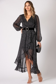 Urban Touch Dot Print Long Sleeve Wrap Dress - Front cropped