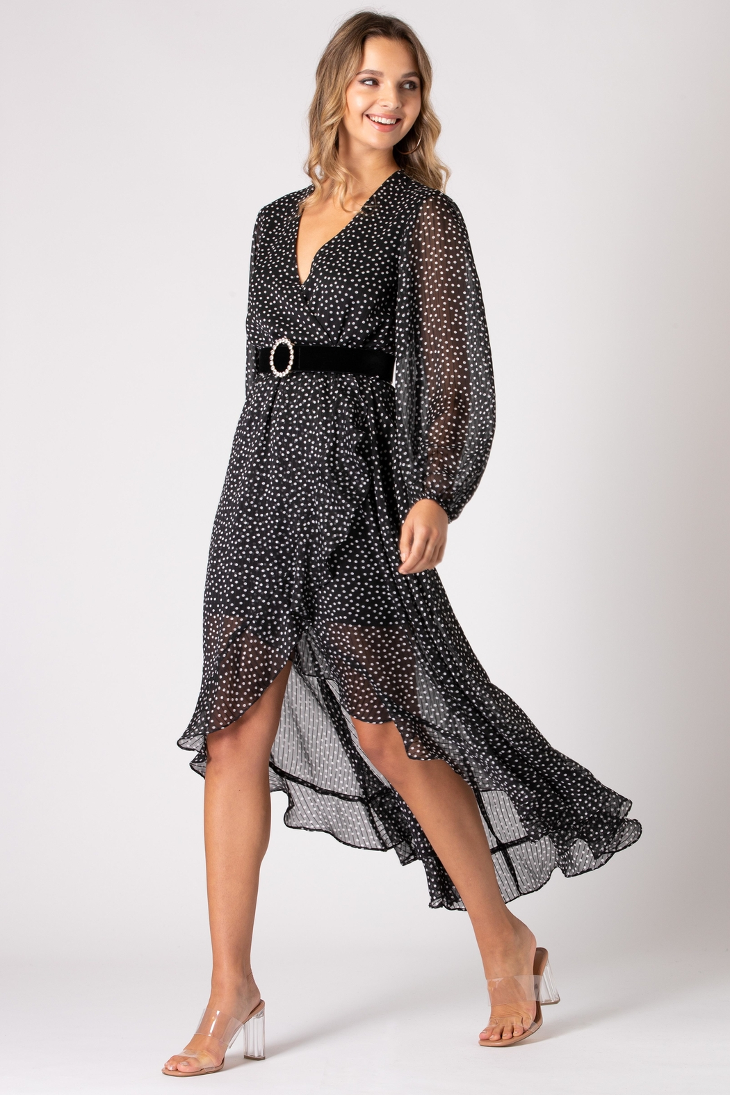 Urban Touch Dot Print Long Sleeve Wrap Dress - Front Full Image
