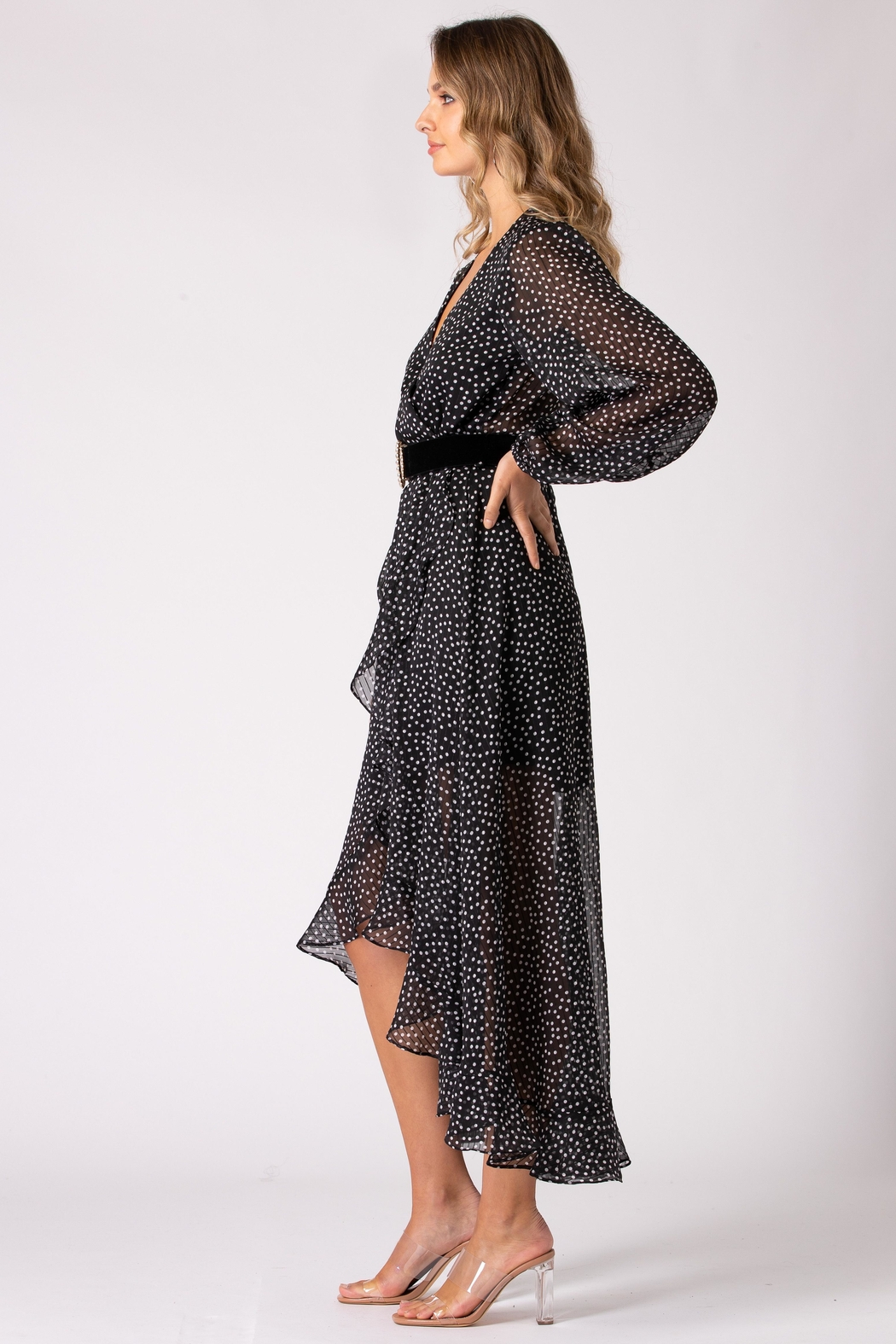 Urban Touch Dot Print Long Sleeve Wrap Dress - Side Cropped Image
