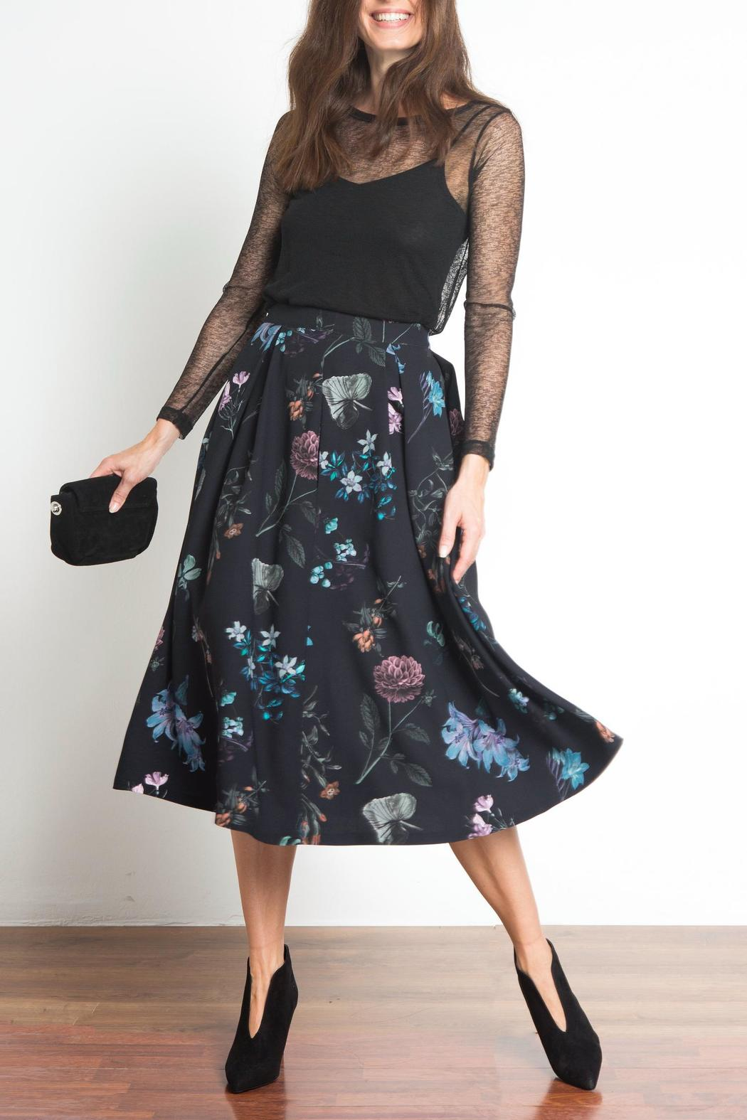 Urban Touch Floral Midi Skirt - Front Full Image