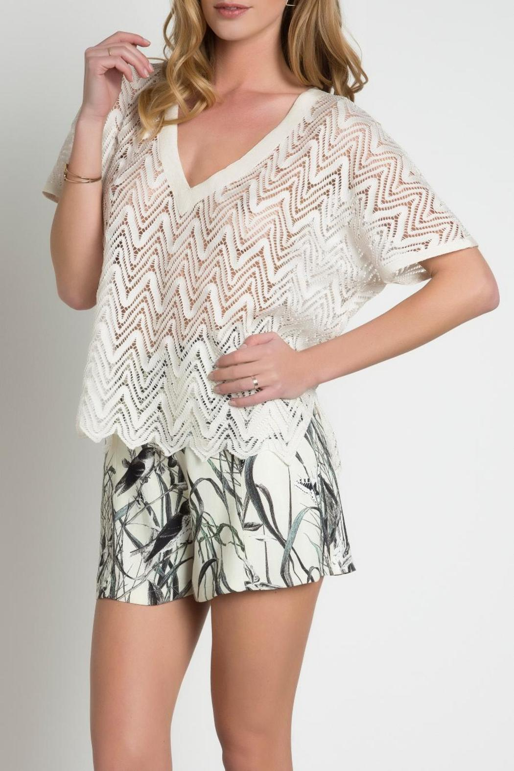 Urban Touch Lace Look Top - Back Cropped Image