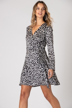 Urban Touch Leopard Print Long Sleeve Wrap Dress - Product List Image