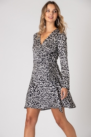 Urban Touch Leopard Print Long Sleeve Wrap Dress - Product Mini Image