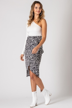 Urban Touch Leopard Print Wrap Midi Skirt - Product List Image