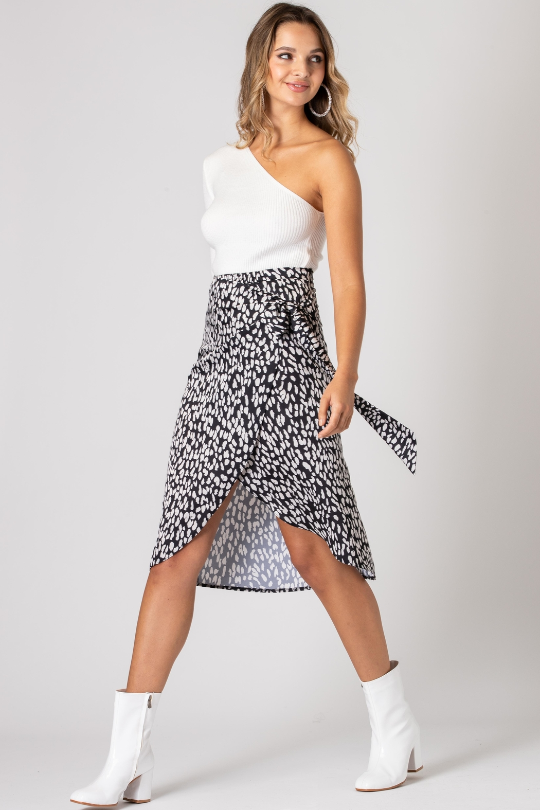 Urban Touch Leopard Print Wrap Midi Skirt - Back Cropped Image