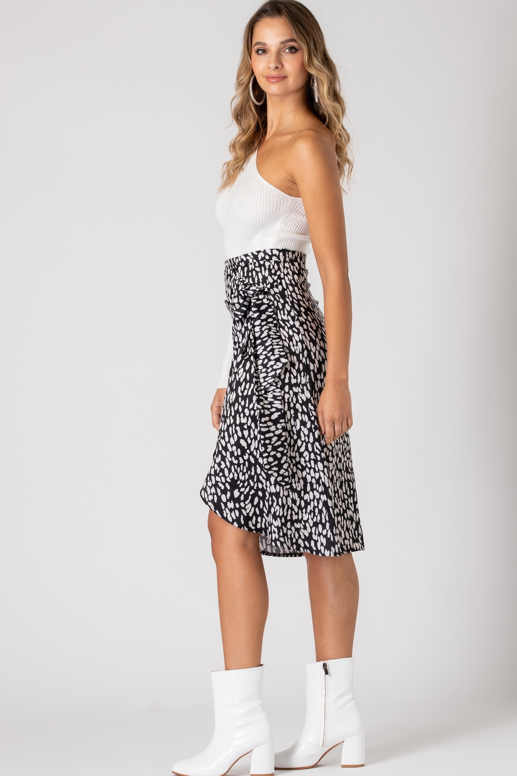 Urban Touch Leopard Print Wrap Midi Skirt - Side Cropped Image