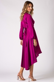 Urban Touch Magenta Dip Hem Wrap Front Dress With Long Sleeves - Other