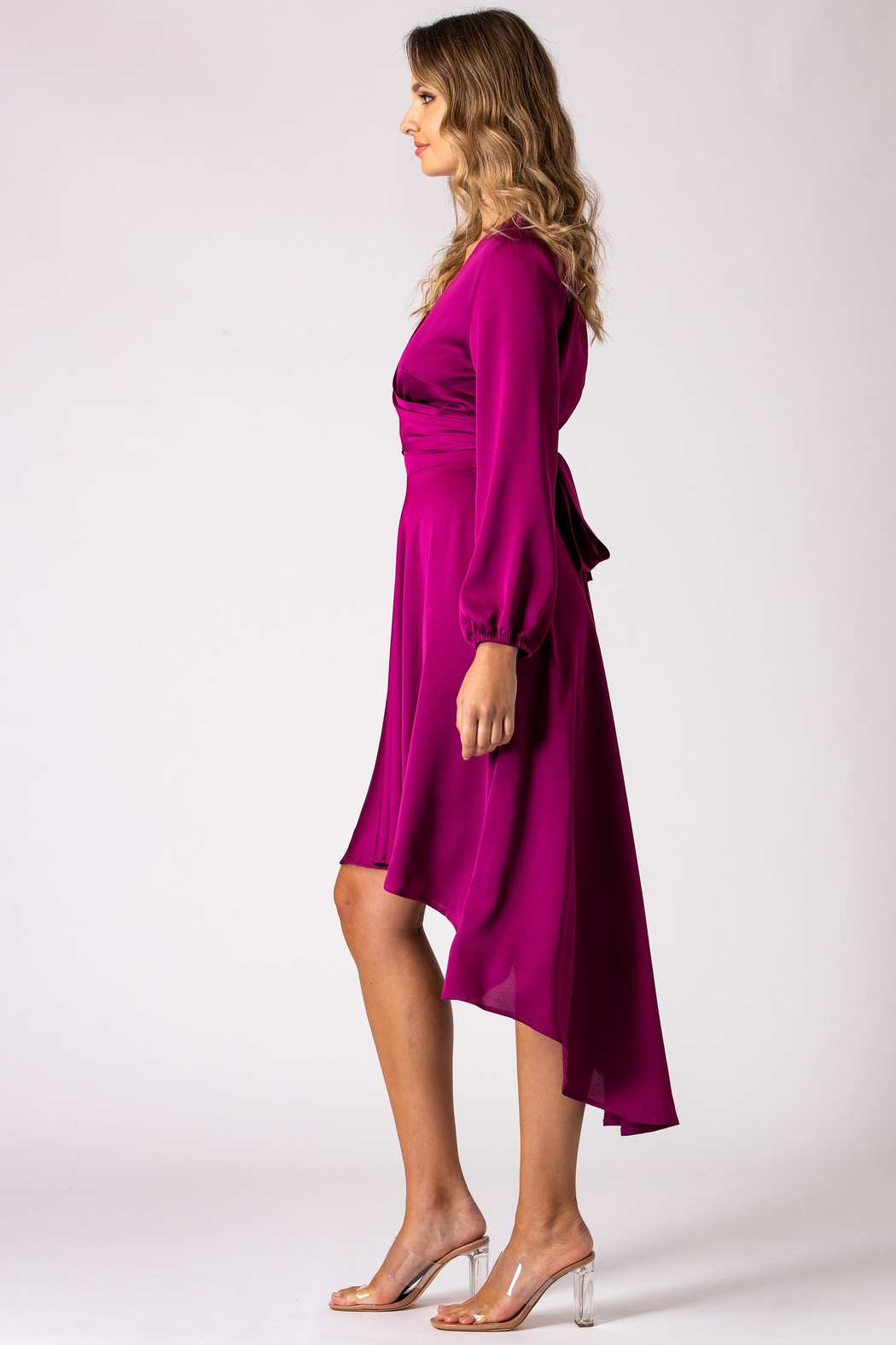 Urban Touch Magenta Dip Hem Wrap Front Dress With Long Sleeves - Back Cropped Image