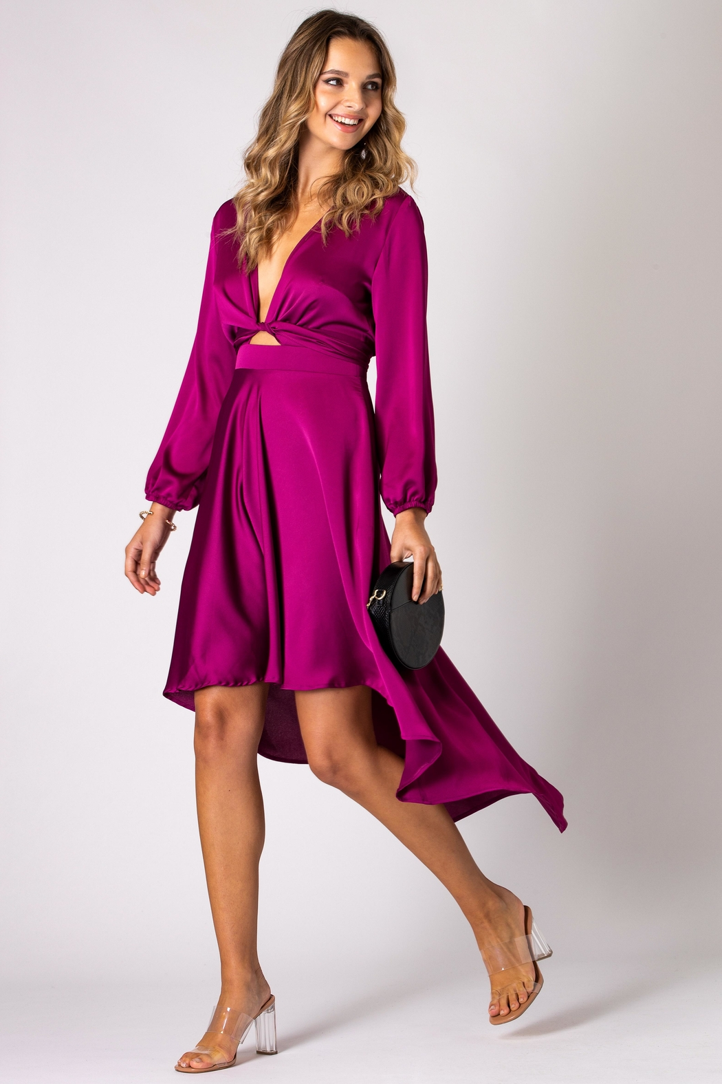 Urban Touch Magenta Dip Hem Wrap Front Dress With Long Sleeves - Main Image
