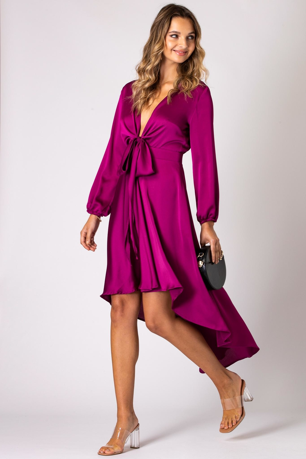 Urban Touch Magenta Dip Hem Wrap Front Dress With Long Sleeves - Side Cropped Image