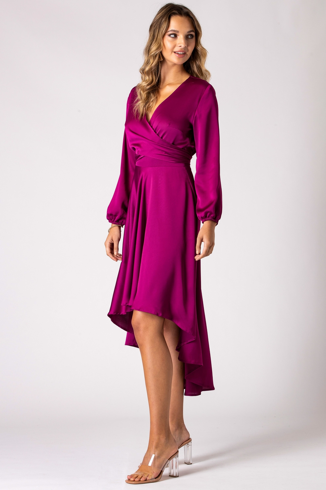 Urban Touch Magenta Dip Hem Wrap Front Dress With Long Sleeves - Front Full Image