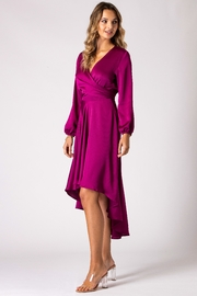 Urban Touch Magenta Dip Hem Wrap Front Dress With Long Sleeves - Front full body