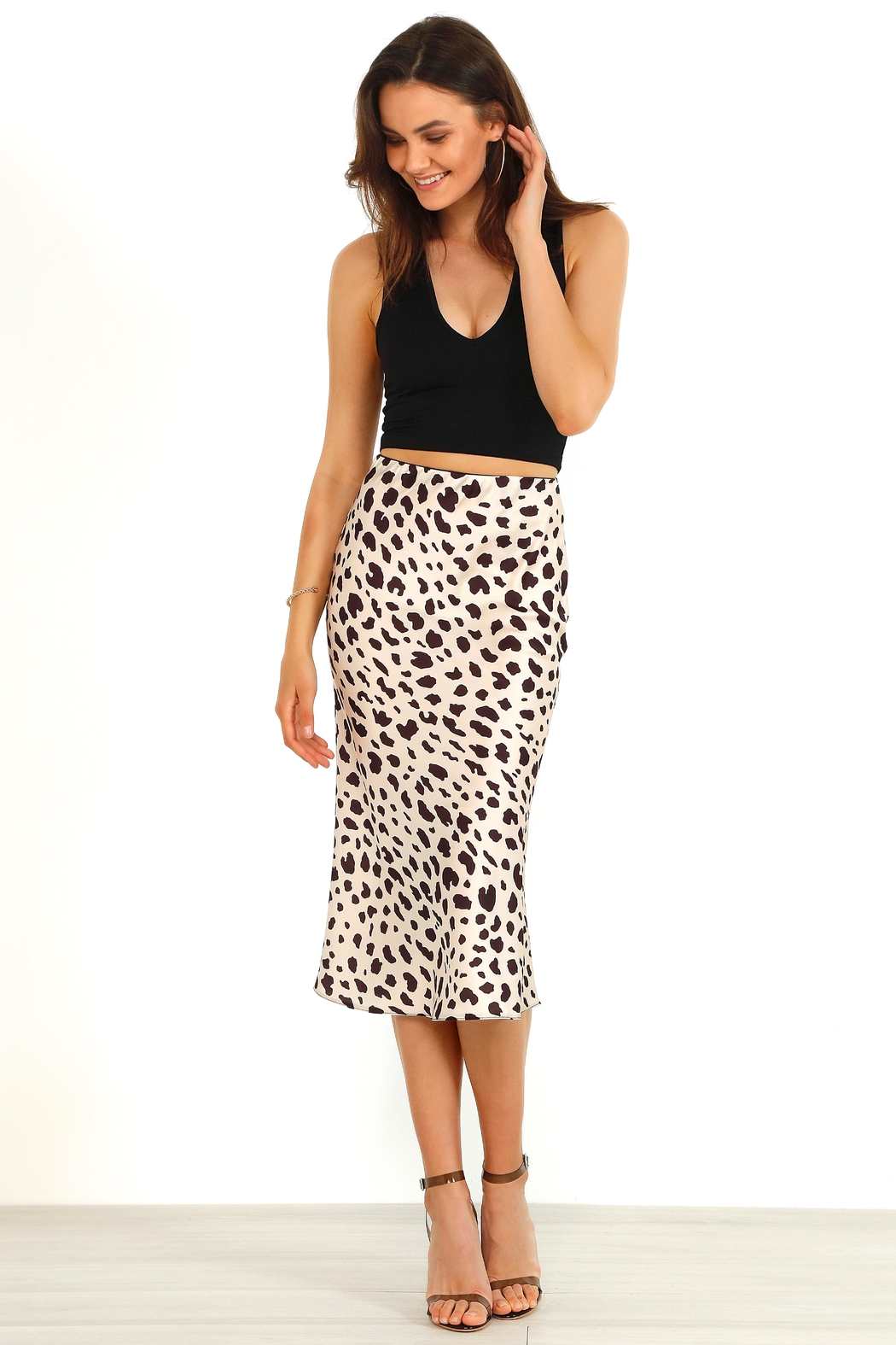 Urban Touch Satin Animal Leopard Print Midi Slip Skirt - Front Cropped Image