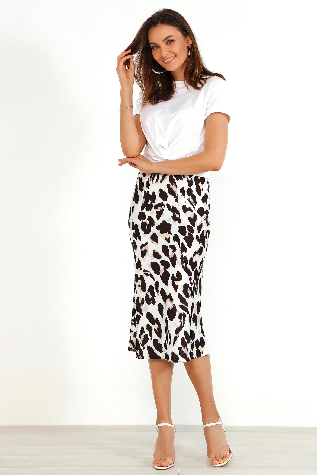 Urban Touch Satin Animal Leopard Print Midi Slip Skirt White - Front Cropped Image