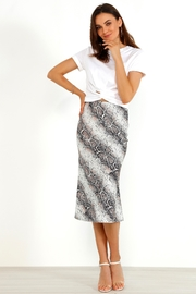 Urban Touch Satin Animal Snake Print Midi Slip Skirt - Product Mini Image