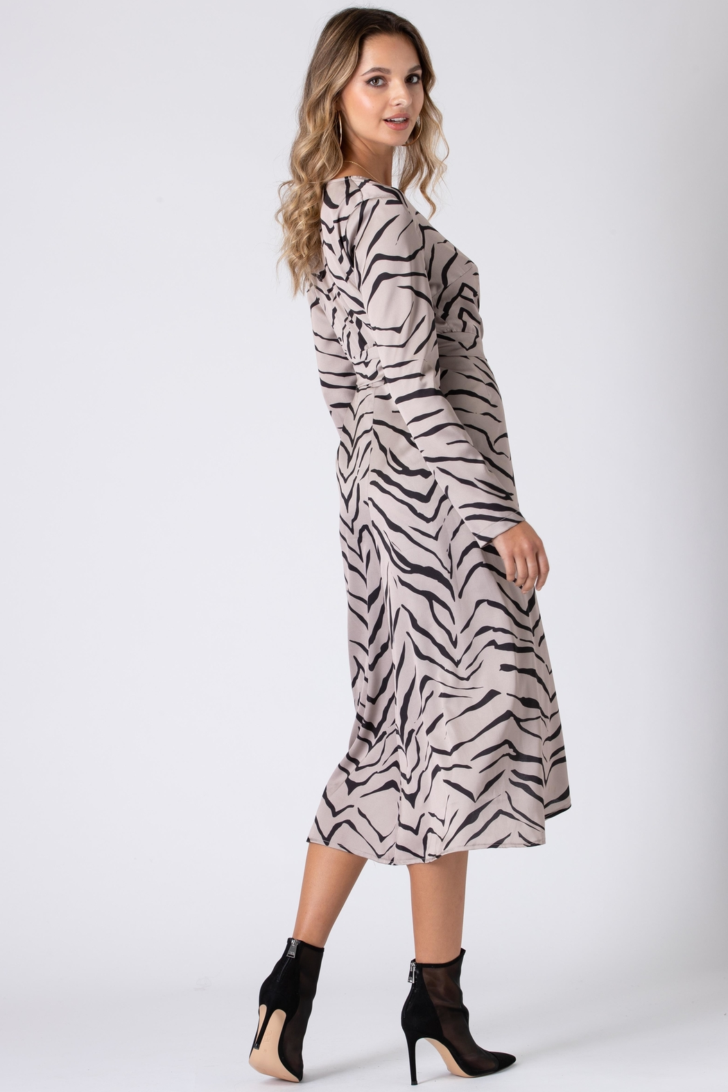 Urban Touch Tiger Print Wrap Dress With Long Sleeves - Back Cropped Image