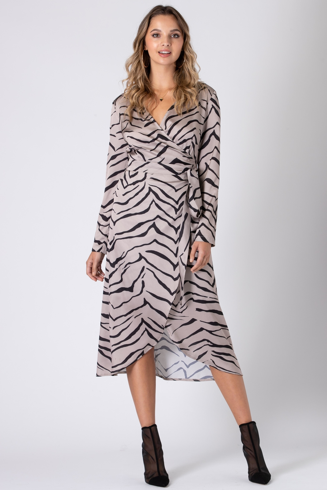 Urban Touch Tiger Print Wrap Dress With Long Sleeves - Side Cropped Image