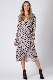Urban Touch Tiger Print Wrap Dress With Long Sleeves - Side cropped
