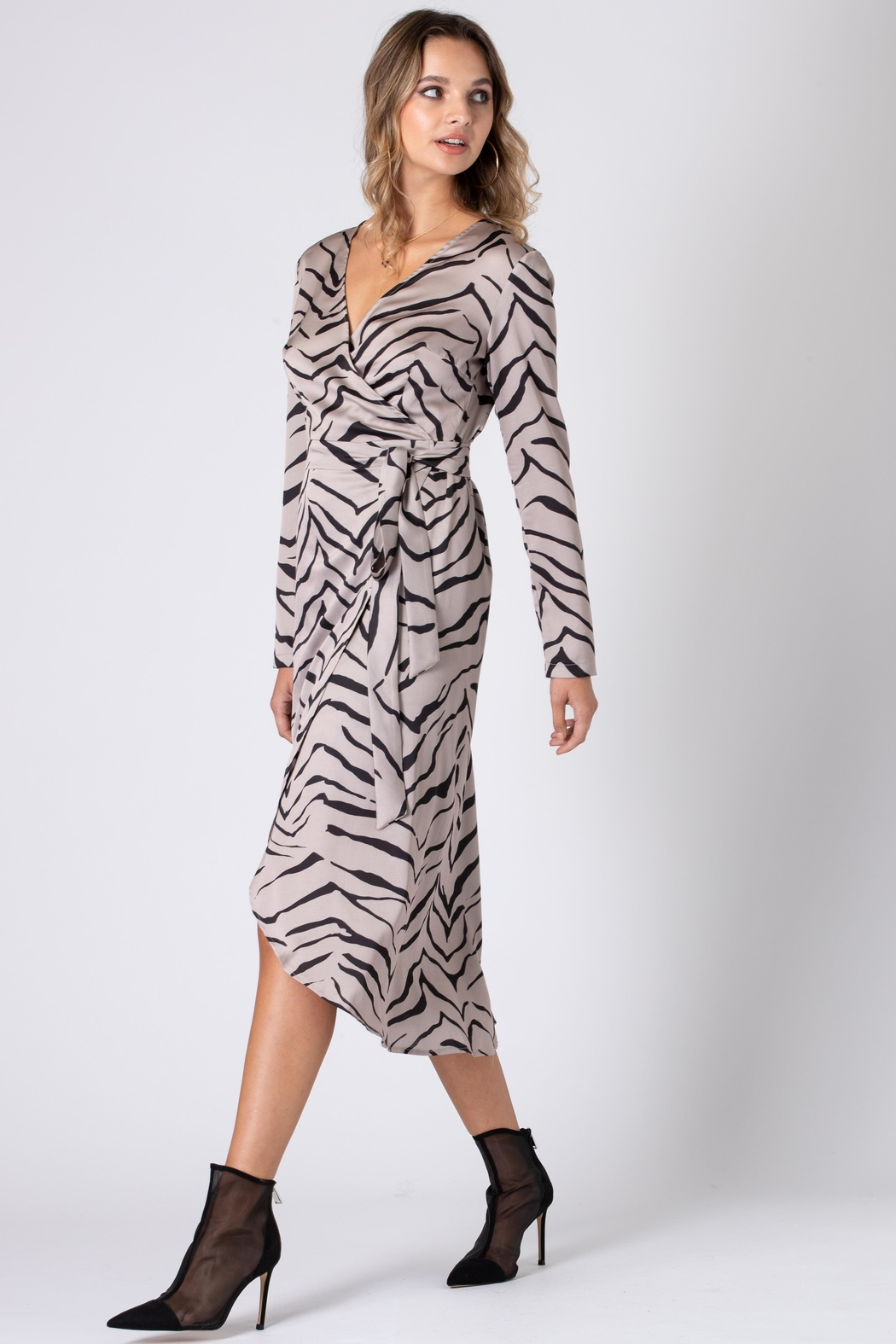 Urban Touch Tiger Print Wrap Dress With Long Sleeves - Main Image