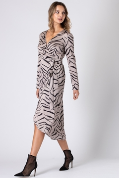 Urban Touch Tiger Print Wrap Dress With Long Sleeves - Product List Image