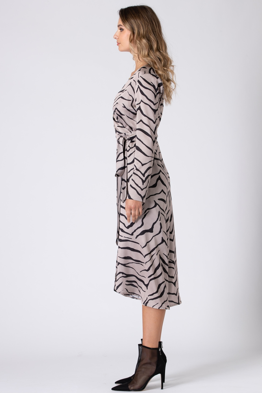 Urban Touch Tiger Print Wrap Dress With Long Sleeves - Front Full Image