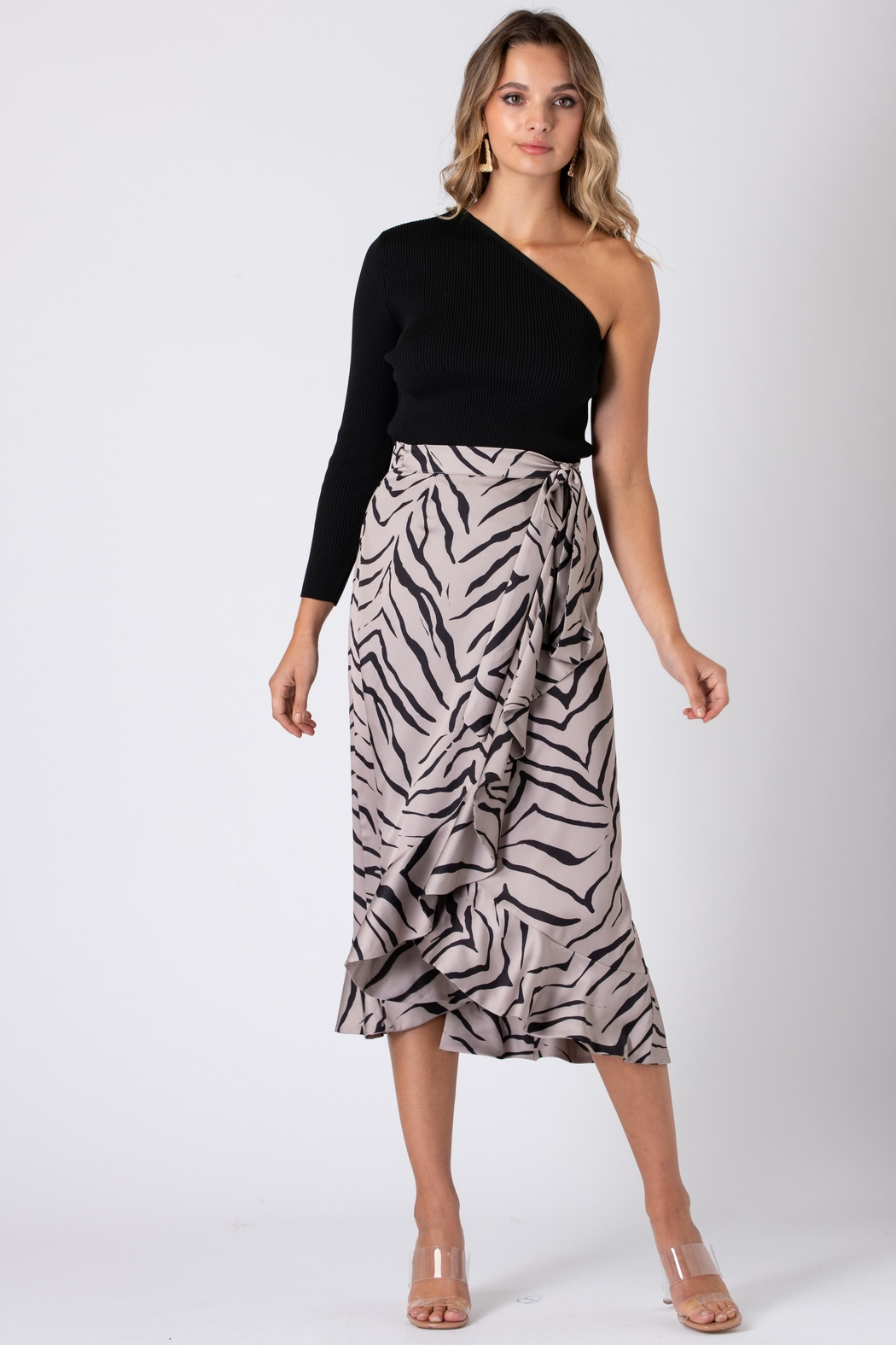 Urban Touch Tiger Print Wrap Skirt - Front Full Image