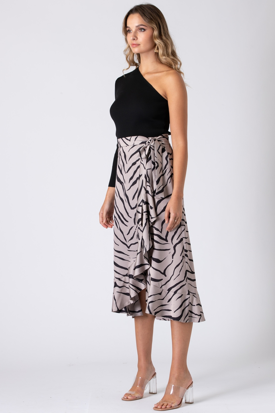 Urban Touch Tiger Print Wrap Skirt - Back Cropped Image