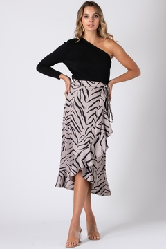 Urban Touch Tiger Print Wrap Skirt - Product List Image