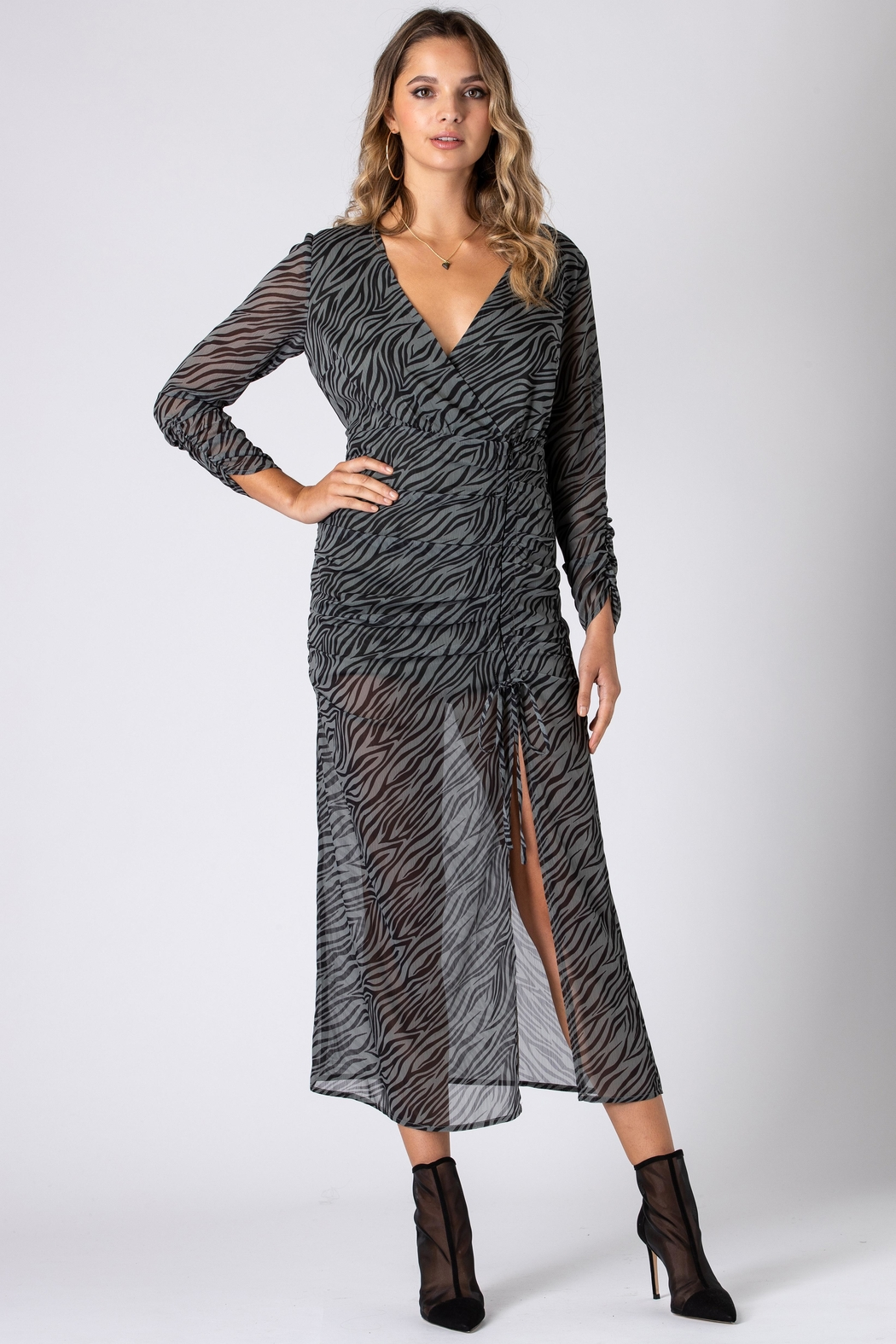 Urban Touch Zebra Print Long Sleeve Midi Dress- Khaki - Front Full Image