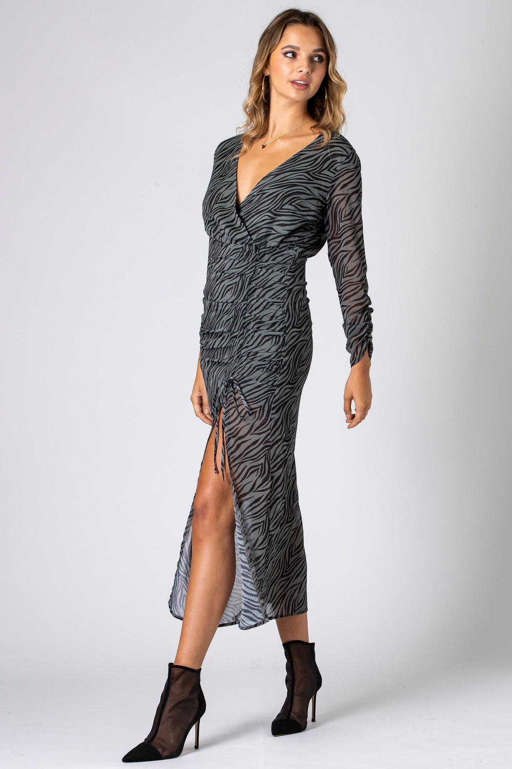 Urban Touch Zebra Print Long Sleeve Midi Dress- Khaki - Main Image