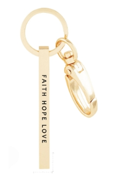 Shoptiques Product: Faith-Hope-Love Gold Keychain