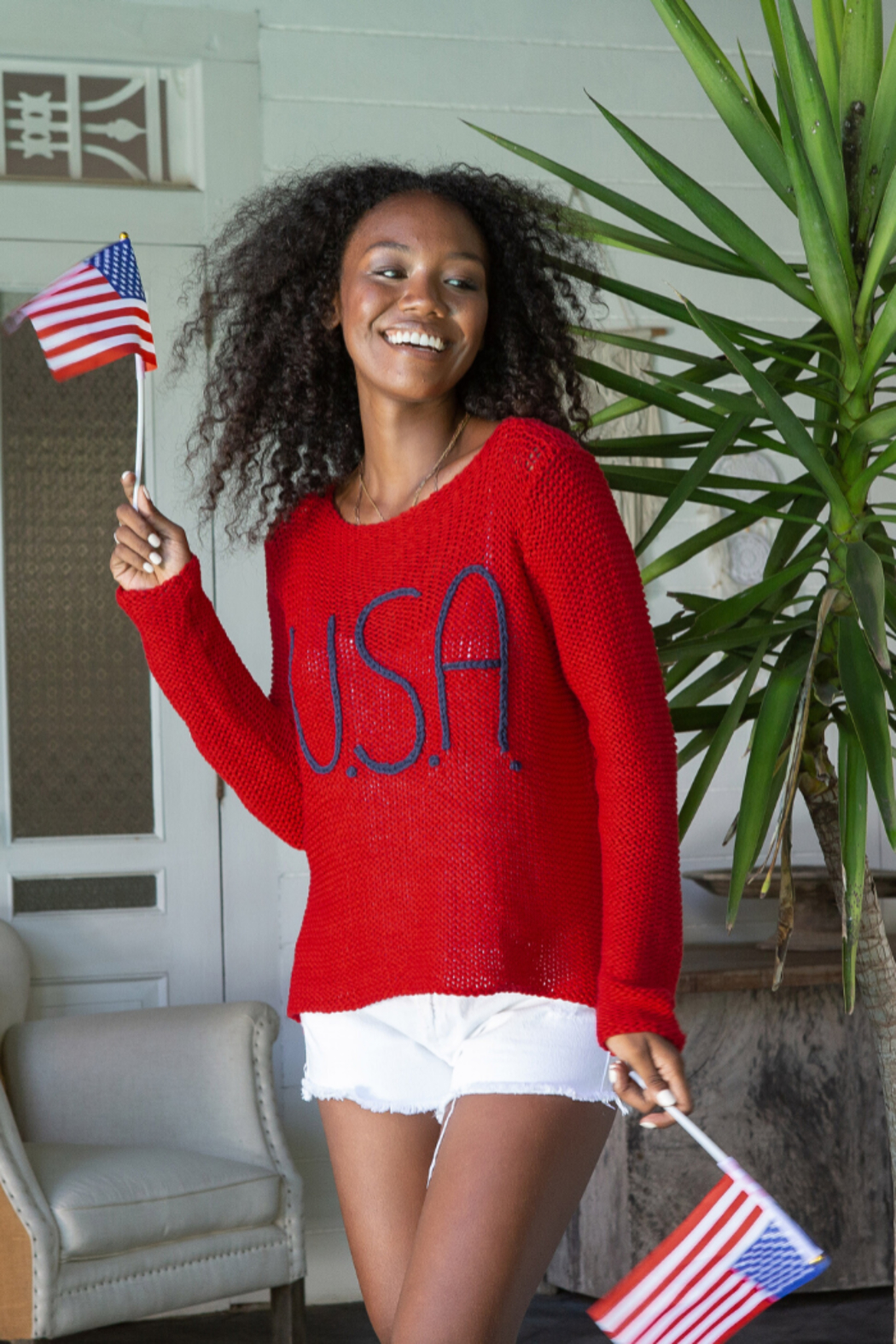 Wooden Ships USA Bateau Cotton Sweater - Front Cropped Image