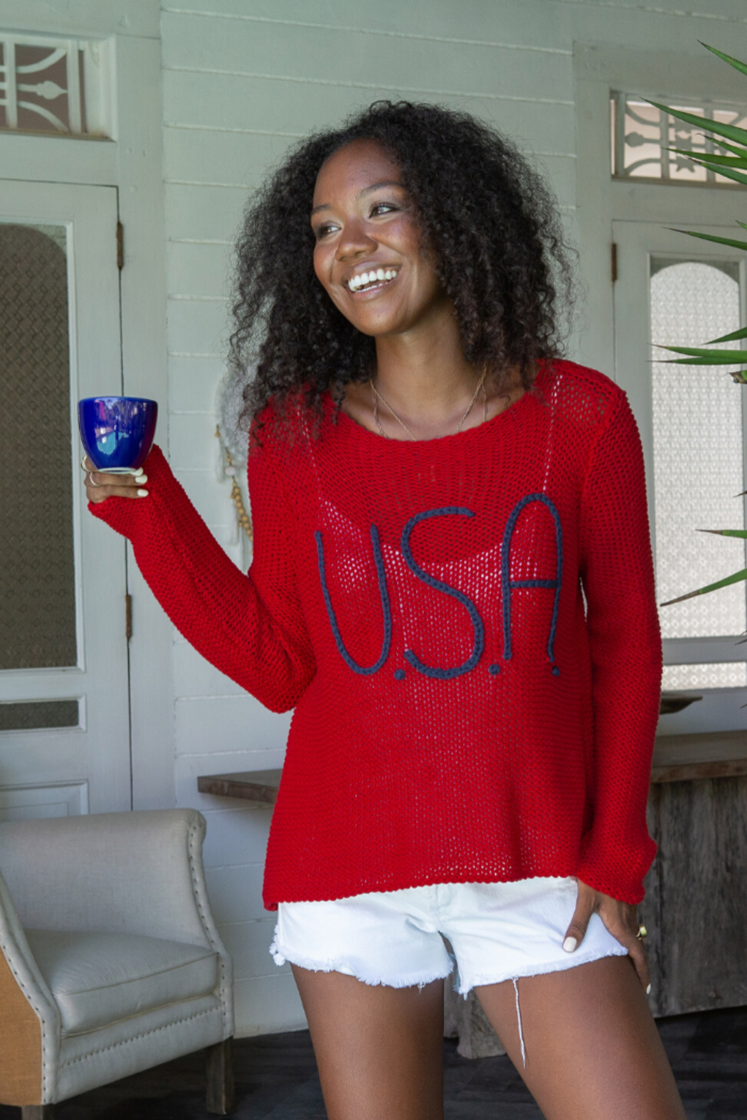 Wooden Ships USA Bateau Cotton Sweater - Side Cropped Image