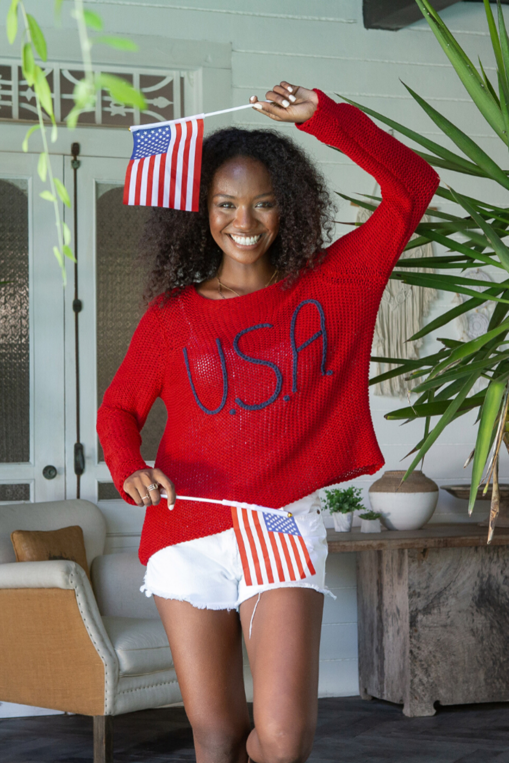 Wooden Ships USA Bateau Cotton Sweater - Front Full Image