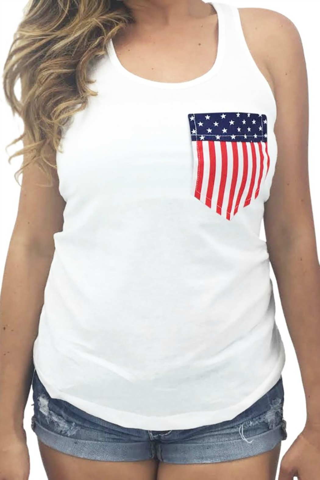 Forever Trendy USA Pocket Tank - Front Cropped Image