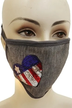 Cap Zone USA SEQUIN HEART FACE MASK - Alternate List Image