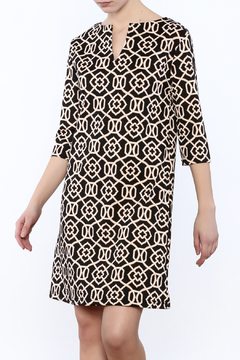 V Fish Black Taupe Pattern Dress - Product List Image