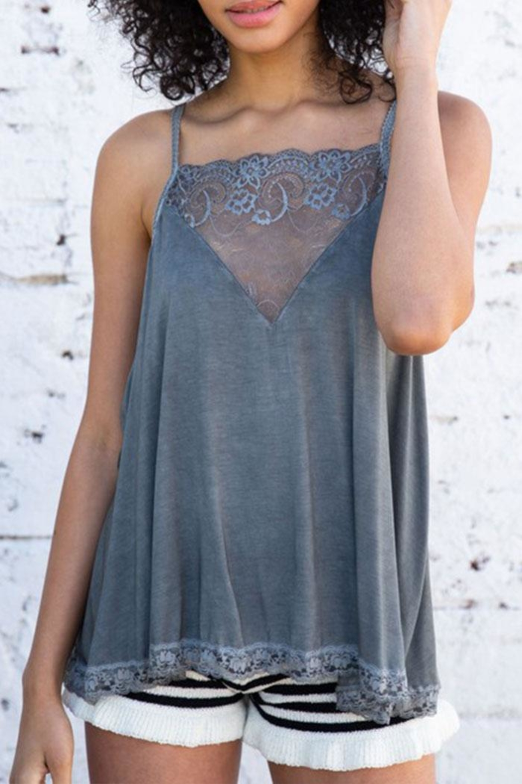 POL V-Lace Detail Tank - Front Cropped Image